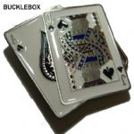 Cards Ace and Jack of Spades Belt Buckle with display stand. Code CH2